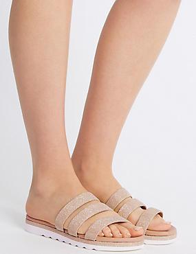 Sparkle Triple Strap Mule Sandals, GOLD, catlanding