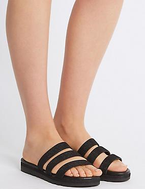 Sparkle Triple Strap Mule Sandals, BLACK, catlanding