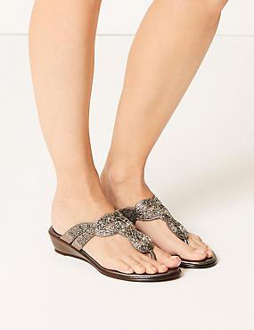 Bling Wedge Mule Sandals, , catlanding