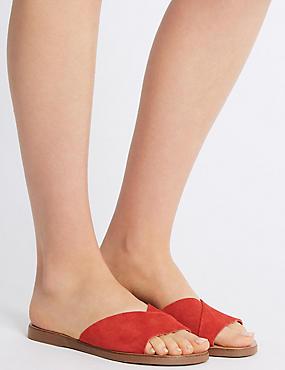 Suede Mule Sandals, RED, catlanding