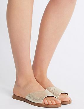 Sparkly Mule Sandals, METALLIC, catlanding