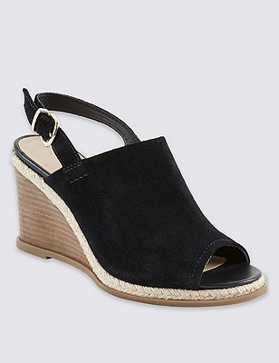 Stain Away™ Suede Wedge Sling Mule Sandals, NAVY, catlanding