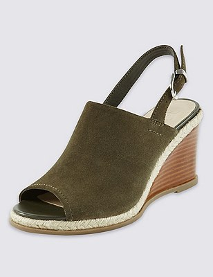Stain Away™ Suede Wedge Sling Mule Sandals, KHAKI, catlanding