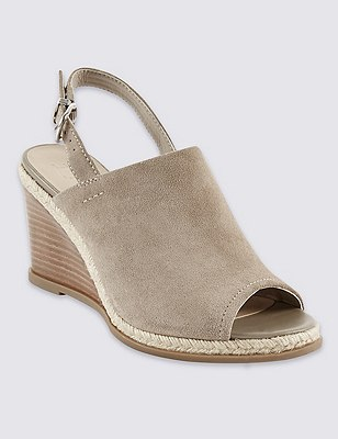 Stain Away™ Suede Wedge Sling Mule Sandals, STONE, catlanding