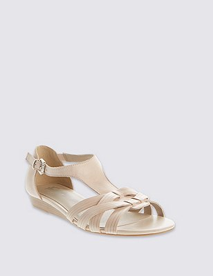 Leather Weave Front T-Bar Sandals, NUDE, catlanding