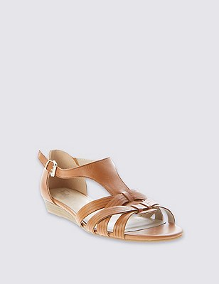 Leather Weave Front T-Bar Sandals, , catlanding