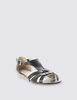 Leather Weave Front T-Bar Sandals, BLACK, catlanding