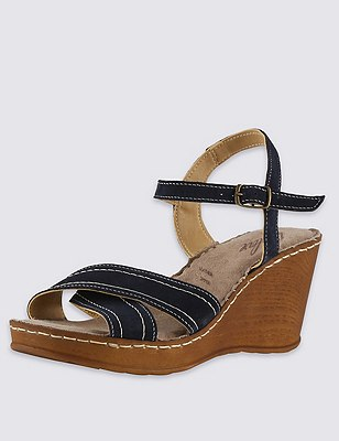 Stain Away™ Suede Two Part Wedge Sandals, NAVY, catlanding