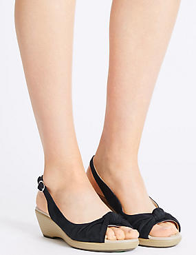 Suede Wedge Heel Sandals with Stain Away™, NAVY, catlanding