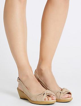 Suede Wedge Heel Sandals, MINK, catlanding