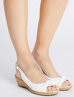 Leather Wedge Heel Knot Sling Back Sandals, WHITE, catlanding