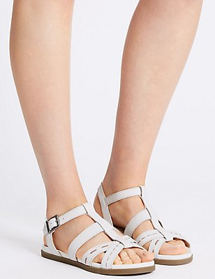 Leather Embossed Sandals, WHITE, catlanding