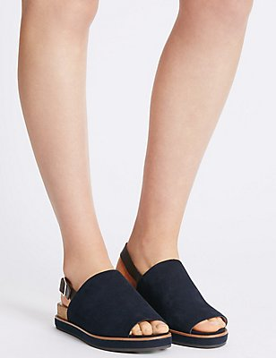 Suede Block High Vamp Sandals , NAVY MIX, catlanding
