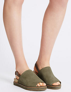 Suede Block High Vamp Sandals , KHAKI MIX, catlanding