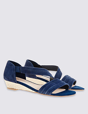 Suede Wedge Heel Asymmetrical Sandals, NAVY, catlanding