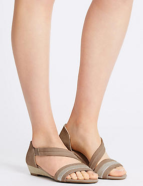 Suede Wedge Asymmetrical Sandals , MINK, catlanding