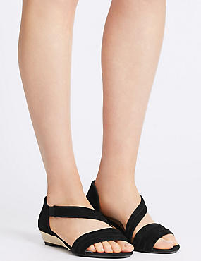 Suede Wedge Heel Asymmetrical Sandals, BLACK, catlanding