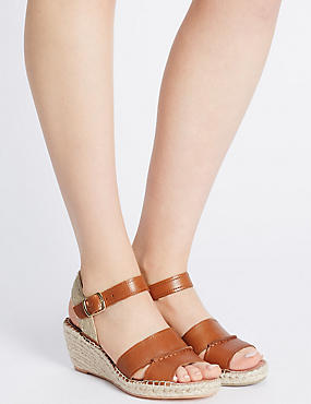 Leather Espadrille Wedge Sandals, TAN, catlanding