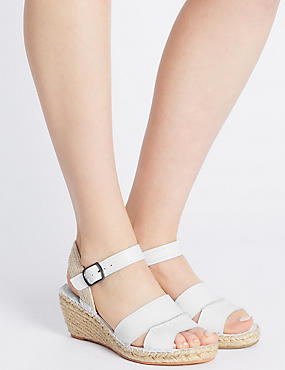 Leather Espadrille Wedge Sandals, WHITE, catlanding