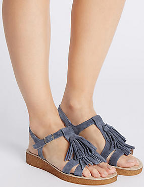 Suede Fringe Sandals with StainAway™, PALE BLUE, catlanding