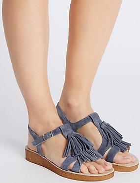 Sandales en daim avec boucle et franges, dotées de la technologie Footglove™, BLEU PÂLE, catlanding