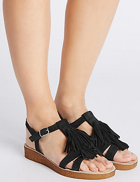 Suede Fringe Sandals with StainAway™, BLACK, catlanding