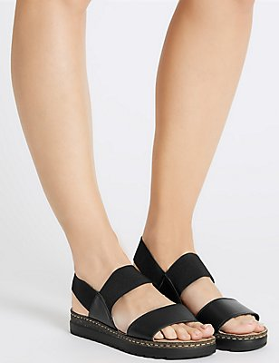 Leather Elastic Two Band Sandals, BLACK, catlanding