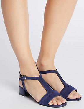 Suede Block Heel T-Bar Sandals, NAVY, catlanding