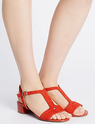 Suede Block Heel T-Bar Sandals, FLAME, catlanding
