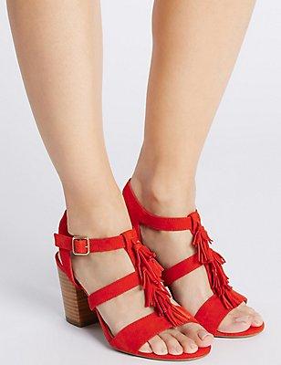 Suede Angular Heel Tassel Sandals, FLAME, catlanding