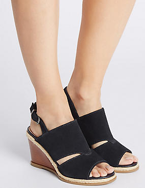Suede Wedge Heel Buckle Sandals, NAVY, catlanding