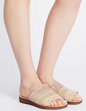 Sandales en daim tricolores, dotées de la technologie Footglove™, NATUREL ASSORTI, catlanding