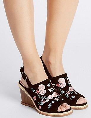 Suede Wedge Heel Embroidered Sandals, BLACK MIX, catlanding
