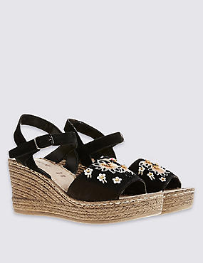 Suede Wedge Heel Embroidered Sandals , BLACK MIX, catlanding