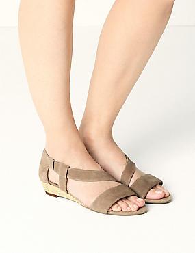 Suede Asymetric Wedge Sandals, MINK, catlanding