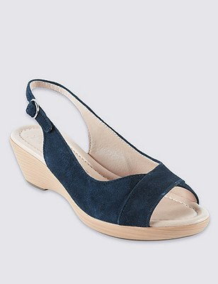 Suede Sling Wedge Sandals with Stain Away™, NAVY, catlanding