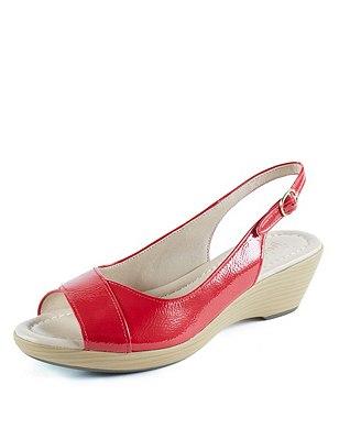 Leather Sling Sandals, RED, catlanding