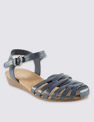 Leather Strappy Weave Sandals, NAVY, catlanding