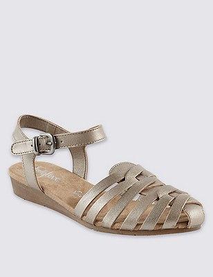 Leather Strappy Weave Sandals, METALLIC, catlanding