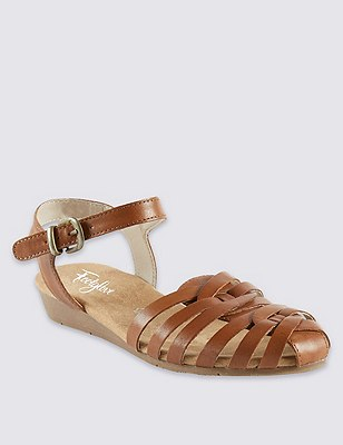 Leather Strappy Weave Sandals, TAN, catlanding