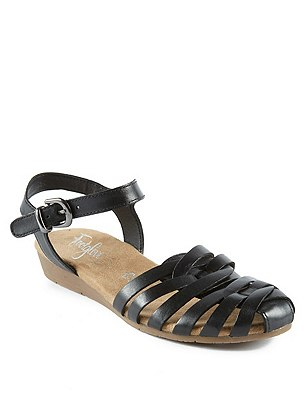 Leather Strappy Weave Sandals, BLACK, catlanding
