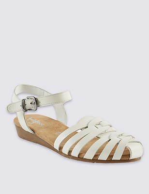 Leather Strappy Weave Sandals, WHITE, catlanding