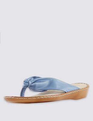 Leather Tubular Toe Sandals, CORNFLOWER, catlanding