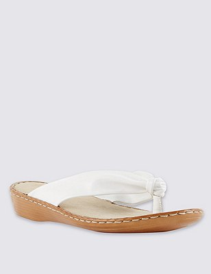 Leather Tubular Toe Sandals, WHITE, catlanding