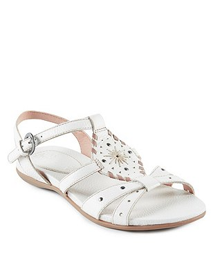 Leather Whipstitch Gladiator Sandals, NEUTRAL, catlanding