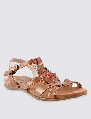 Leather Whipstitch Gladiator Sandals, TAN, catlanding