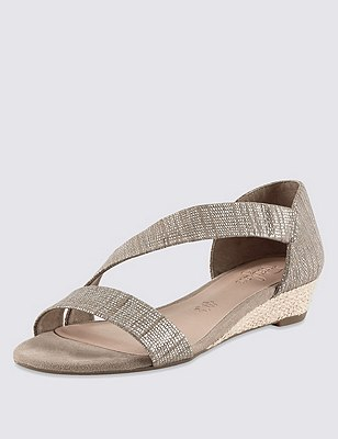 Stain Away™ Suede Asymmetric Wedge Espadrilles, METALLIC, catlanding