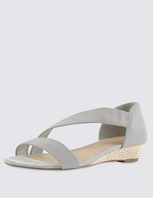 Stain Away™ Suede Asymmetric Wedge Espadrilles, GREY, catlanding