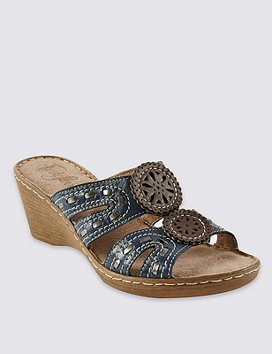 Leather Whipstitch H Band Wedge Sandals, NAVY MIX, catlanding