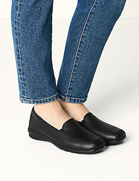 Leather Wedge Heel Loafers, BLACK, catlanding